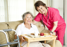 caregiver and old woman patient