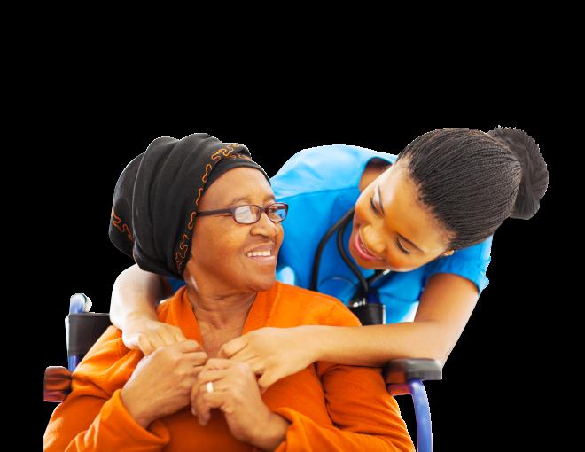 A nurse hugging an elderly