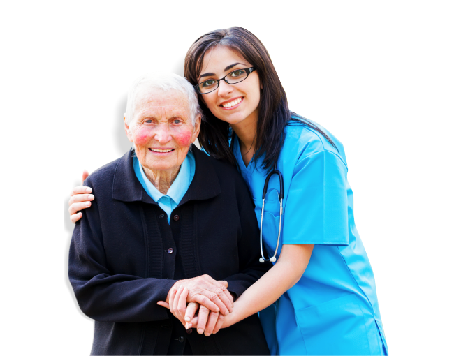 A nurse comforting an elderly