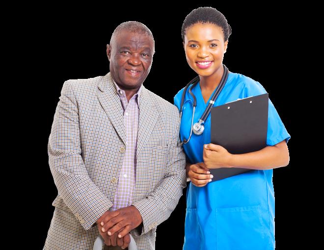 A nurse holding a clipboard with an elderly beside her
